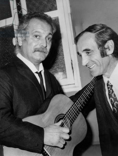 Georges Brassens and Charles Aznavour October 16, 1969 (b/w photo)