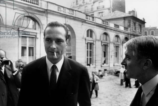 Jacques Chirac, State Secretary of Employment With Jean Marcel Jeanneney, Social Affair Minister Arrive To The Ministry, Two Days Before The Agreement of Grenelle, on May 25Th 1968 (b/w photo)