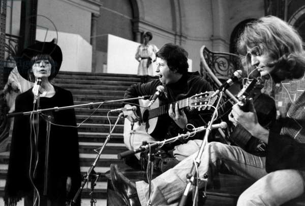 """The French Singer, Author and Composer, Francoise Hardy (B.1944) With Touka and Jean Pierre Castelain, Playing Guitar, on The Set of The TV Programme """"Saturday Leisure"""", on October 12Th, 1972 (b/w photo)"""