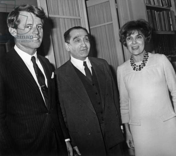 Robert Kennedy (L) With Pierre Mandes France and Lily Mandes France at Their Home, January 31, 1967 (b/w photo)