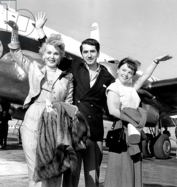Daniel Gelin, Christine Carere and Zsa Zsa Gabor at Paris Airport Before Going To Madrid For Film Love in A Hot Climate September 09, 1953 (b/w photo)
