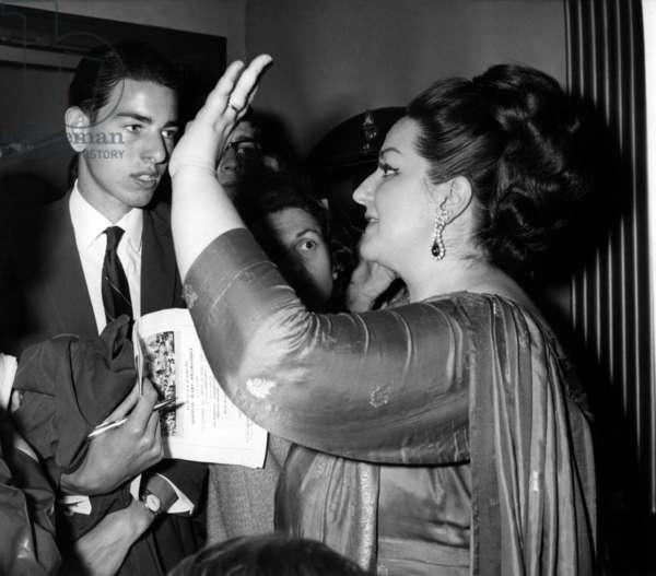 Spanish Soprano Montserrat Caballe in Paris on June 22, 1966 (b/w photo)
