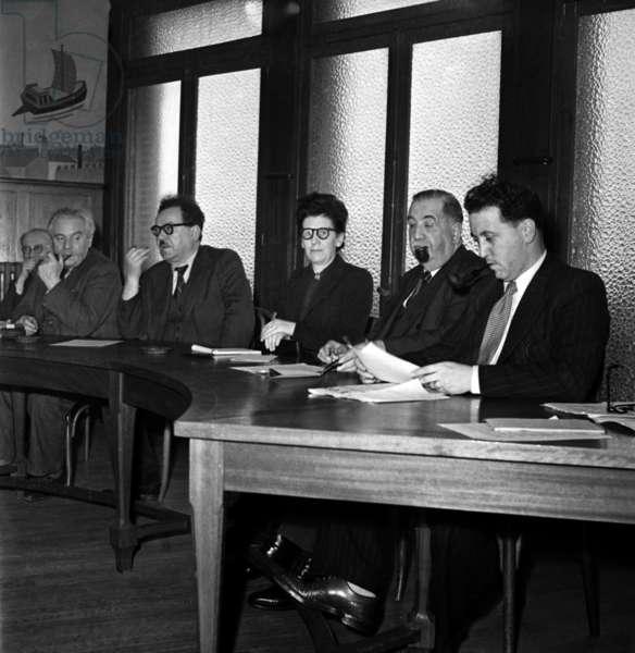 Meeting of The Cgt (French Trade Union) June 1946 : L-R : Pierre Lebrun, Gaston Monmousseau, Benoit Prachon, Alice Brisset, Leon Jouhaux and Louis Saillant (b/w photo)