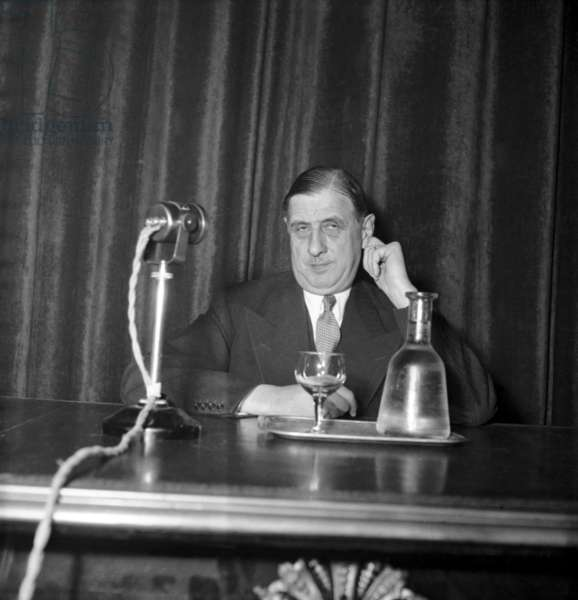 Charles De Gaulle, Leader of The Rpf, during A Press Conference November 17, 1948 in Paris (b/w photo)