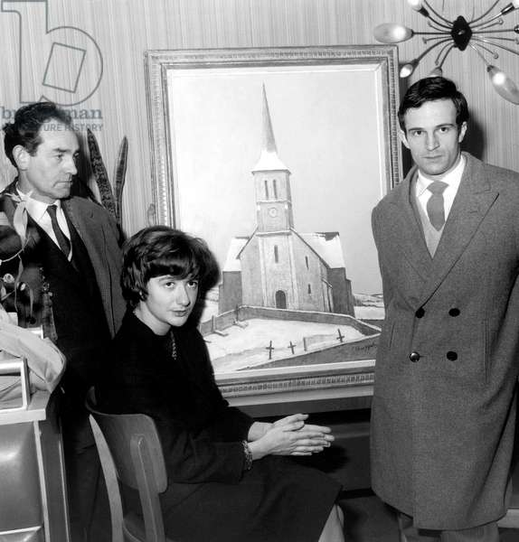Francoise Sagan and Francois Truffaut, Who Has Won A Prize, January 6, 1961 With Painter Pierre Klemczynski Who Has Painted The Painting (b/w photo)