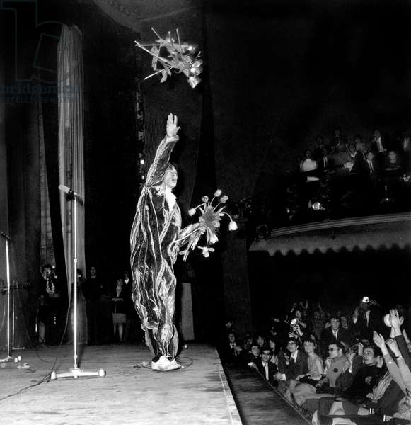 Mick Jagger during Concert of The Rolling Stones at Olympia April 12, 1967 (b/w photo)