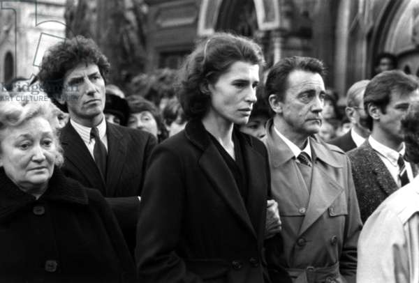 Actress Fanny Ardant at Funeral of Director Francois Truffaut in Paris, October 24, 1984. Behind Is Jack Lang, French Minister of Culture (b/w photo)