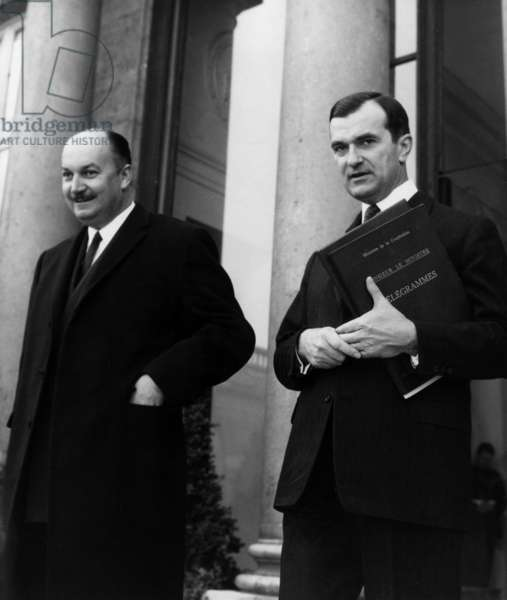 Pierre Dumas and Yvon Bourges Leaving Elysee Palace After Council of Ministers, March 27, 1968, Paris (b/w photo)