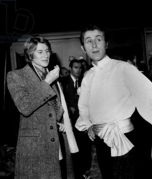 Jacques Chazot (R) Congratulated By Yves Saint-Laurent After his Performance at Opera Comique, Paris, November 24, 1968 (b/w photo)