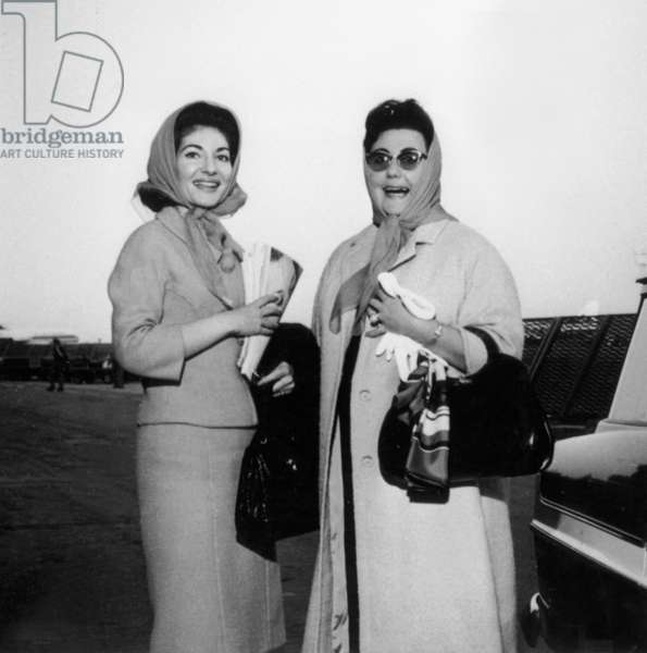 Opera Singers Maria Callas (L) and Regine Crespin Coming Back From London at Orly Airport in Paris on June 5, 1963 (b/w photo)