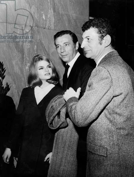 Actors Yves Montand Catherine Allegret With Director Yves Robert at Premiere of Film Monkey Money 1965 (b/w photo)