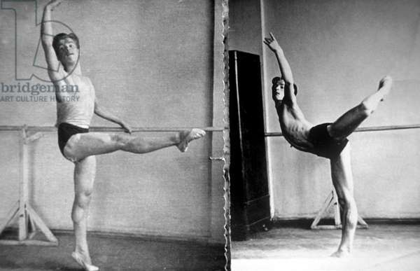 Young Dancer Nureyev (1938-1993) during Exercise at The Barre C. Late 50'S (b/w photo)
