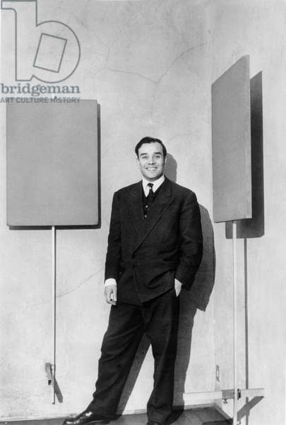 Yves Klein For Exhibition of his Paintings on January 14, 1957 in Milan