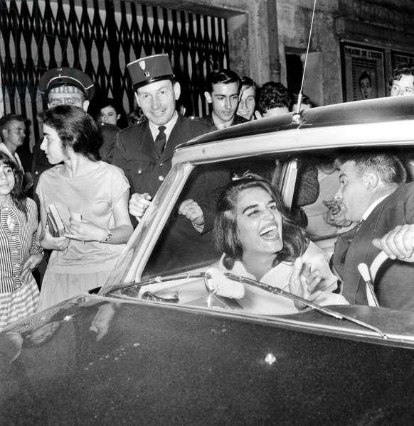"Dalida at Premier of Film ""Jukebox"" September 25, 1959 (b/w photo)"