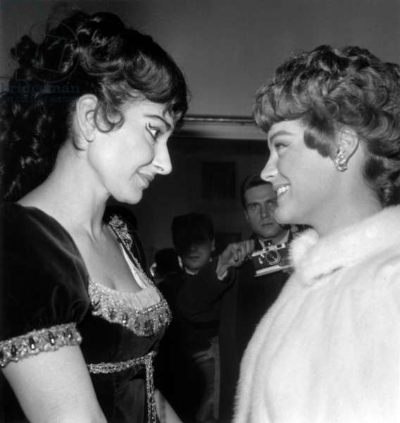 Maria Callas and Romy Schneider in The Dressing Room of Maria After Performance of Tosca at Paris Opera House on February 20, 1965 (b/w photo)