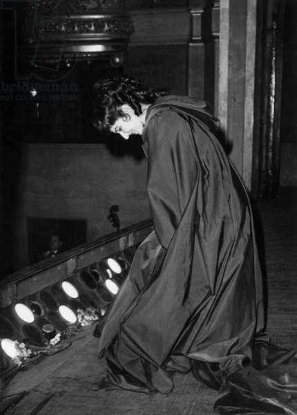 "The Opera Singer Maria Callas Acclaim For her Performance ""Tosca"", Paris Opera House, February 20, 1965 (b/w photo)"