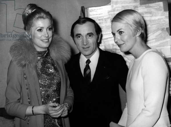 Catherine Deneuve, Jean Seberg and Charles Aznavour in his Dressing Room at The Olympia in Paris January 19, 1968 (b/w photo)