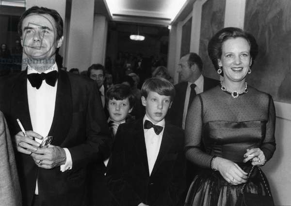 Henrik, Prince Consort of Denmark, his Wife Margrethe Ii, Queen of Denmark With Their Sons Frederik and Joachim, at The Theatre Des Champs Elysees For A Representation of The Royal Danish Ballet. Paris, October 26, 1981 (b/w photo)