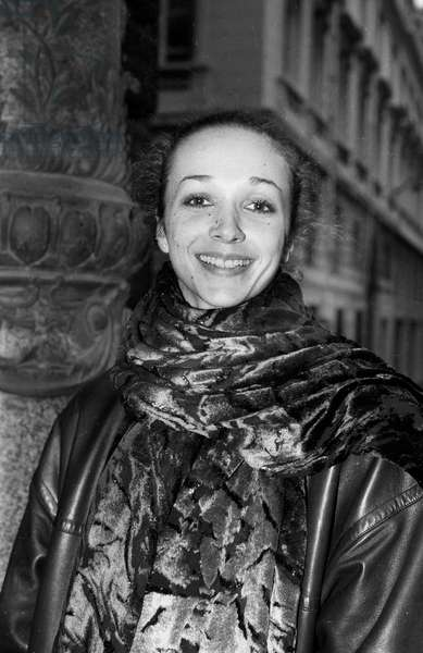 French Dancer Isabelle Guerin, November 4, 1985, Paris (b/w photo)