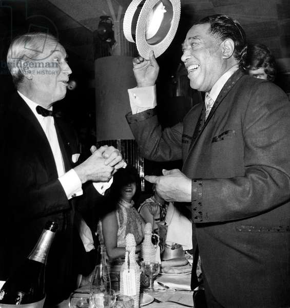 Maurice Chevalier and Duke Ellington at The Alcazar in Paris, November 21, 1969 (Gala For The Birthday of Duke Ellington, 70) (b/w photo)