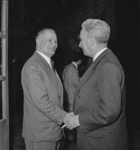 French politicians Gaston Palewski and Louis Joxe at Matignon Hotel in Paris to meet with DeGaulle, June 3, 1958 (b/w photo)