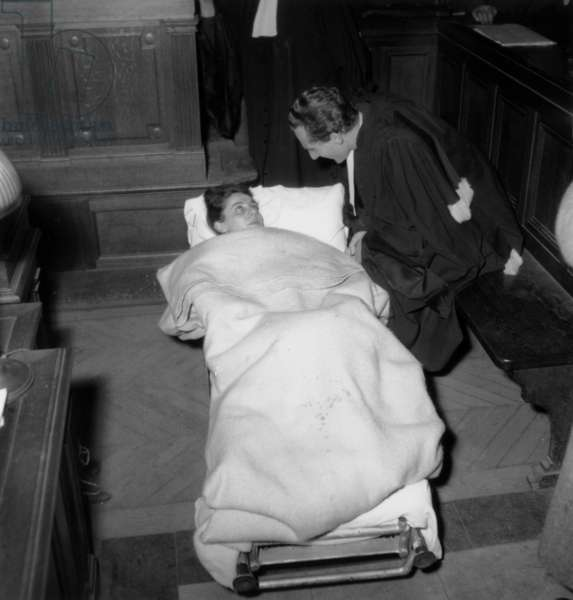Trial of Mathilde Carre (1910-1970) Nicknamed La Chatte (The Cat) Was A French Resistance Agent during World War Ii Who Turned A Double Agent, here her Accomplice Renee Petitjean in January 4, 1949 With her Lawyer Prevost  (b/w photo)