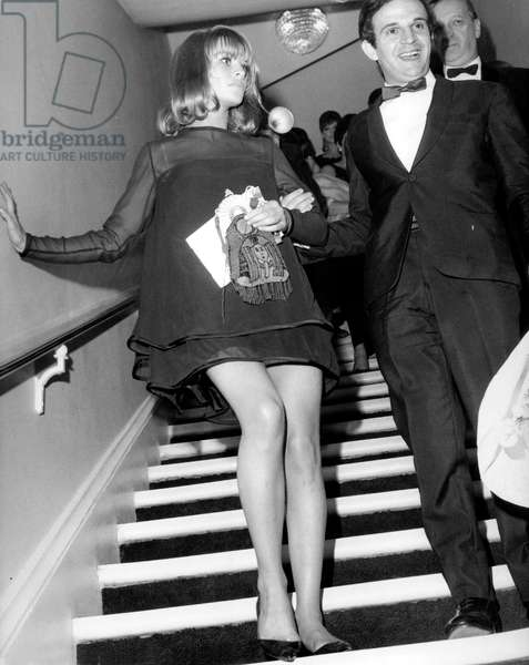Director Francois Truffaut With Actress Julie Christie at Gala For Film Fahrenheit 451 in Paris September 16, 1966 (b/w photo)