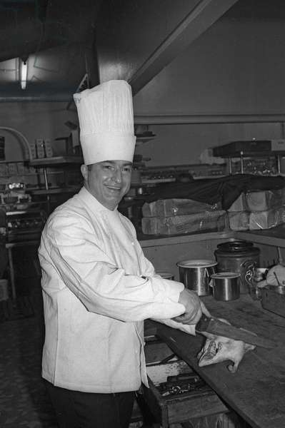 French cook Georges Dumas, April 1973 (b/w photo)