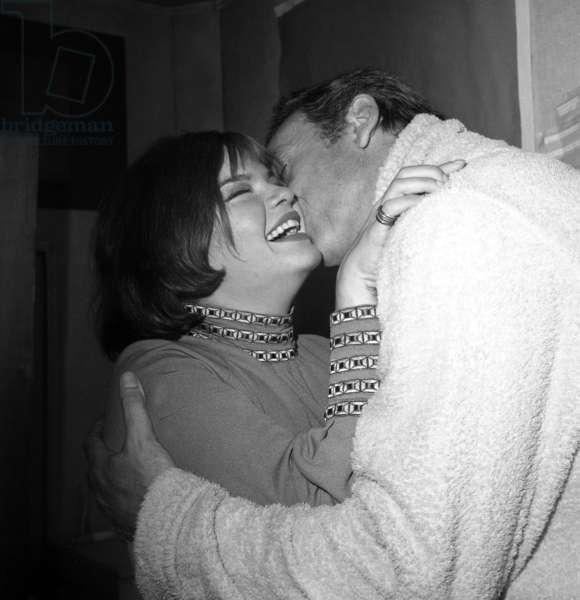 Catherine Allegret (Simonesignoret'S Daughter) Congratulating her Step-Father Yves Montand After Concert at Olympia September 20, 1968 (b/w photo)