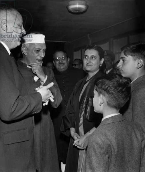 The Indian President Nehru, Prime Minister and his Daughter Indira Gandhi at The Orly Airport in Paris With The French Minister of Foreigns Affairs, Christian Pineau, July 17, 1956 (b/w photo)