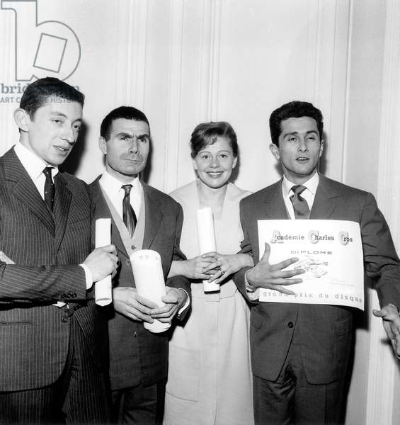 Serge Gainsbourg, Jacques Dufilho, Denise Benoit, and Marcel Amont Winners of Prize of Charles Cros Academy on March 14, 1959 (b/w photo)