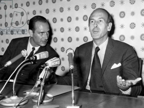 Valery Giscard D'Estaing President of The Organisation For Economic Co-Operation and Development (Oecd) With Jacques Chirac, Finance State Secretary during A Press Conference, on September 9Th, 1970  (b/w photo)