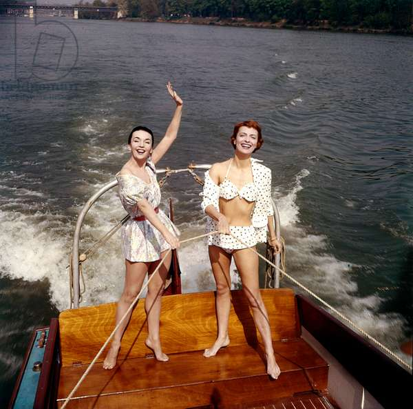 Actresses Ludmilla Tcherina and Andree Debar on A Boat C. 1956 (photo)