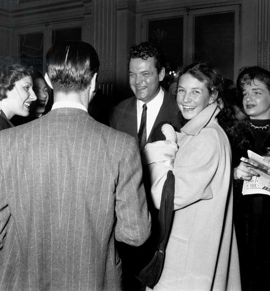 Orson Welles, Odile Versois and Simone Signoret at French Movie Prize Ceremony December 15, 1948 (b/w photo)