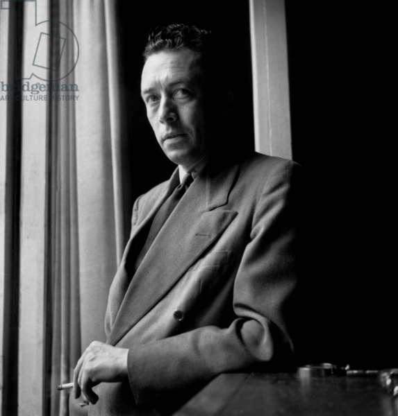 French Writer Albert Camus (1913-1960) at Home June 13, 1947 (b/w photo)