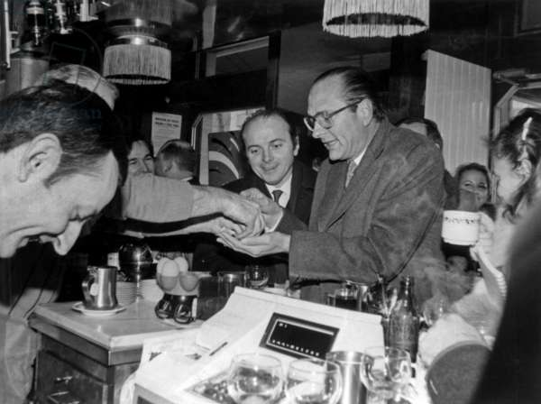 Jacques Chirac in A Cafe during Electoral Campaign For Legislative Elections, on L Is Jacques Toubon Fabruary 16, 1983 (b/w photo)