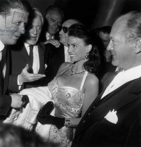 Cannes Film Festival : Eva Bartok and Curd Jurgens, May 11, 1957 (b/w photo)
