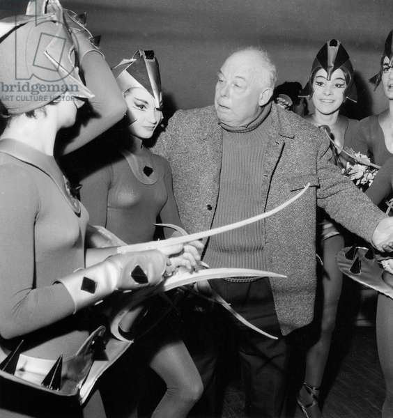 "Jean Renoir during Rehearsal of Ballet ""Le Feu Aux Poudres"" February 18, 1959 (b/w photo)"