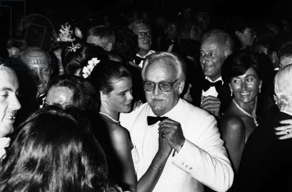 Princess Stephanie Dancing With her Father Prince Rainier Iii of Monaco at Gala of The Rde Cross, Monaco, August 2, 1982 (b/w photo)