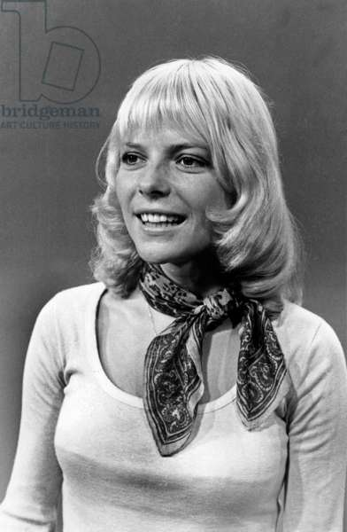 French Singer France Gall during TV Programme August 02, 1971 (b/w photo)