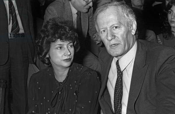 Michele Cotta and Jacques Chancel at the anniversary of the Disc Academy, Sorbonne, Paris, October 7, 1981 (b/w photo)
