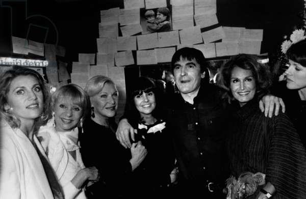 "L-R Sheila, Annie Cordi, Line Renaud, Chantal Goya, Serge Lama, Dalida and Anny Duperey at Premiere of Show ""Napoleon"" By Lama October 02, 1984 (b/w photo)"