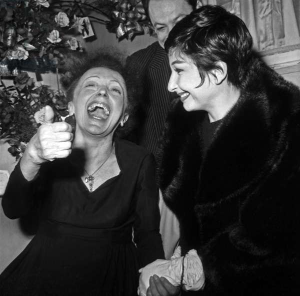 Edith Piaf After Concert in Backstage at Olympia With Zizi Jeanmaire December 30, 1960 (b/w photo)