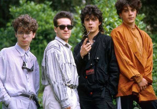 The Band Indochine, 1985 : Dominik Nicolas, Dimitri Bodianski, Brothers Stephane and Nicola Sirkis (photo)