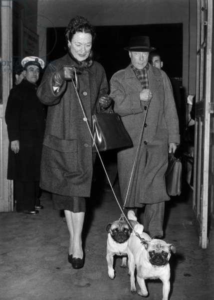 Arriving in Paris Duke Edward of Windsor (Former King Edward Viii) and his Wife Duchess of Windsor (Wallis Simpson) December 7, 1955 (b/w photo)