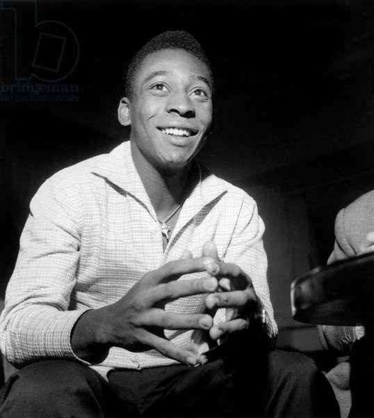 Footballer Pele Before Football Tournament in Paris June 7, 1960 (b/w photo)