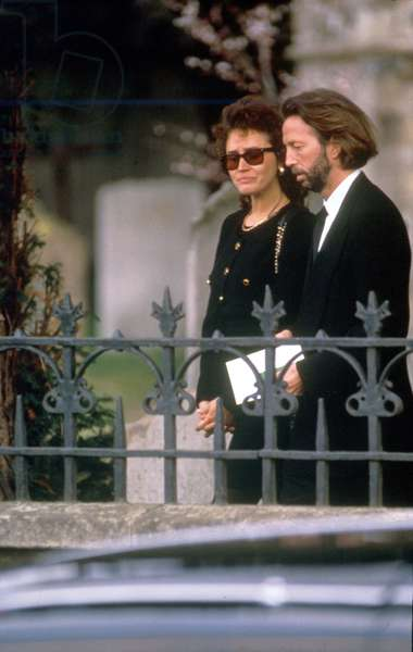 Eric Clapton, English Singer and Guitarist With Lori Del Santo at The Funeral of Their Four Year Old Son Conor. 28 March 1991 (photo)