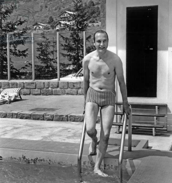 Jacques Chirac on Holiday in Auron (France) August 21, 1974 (b/w photo)