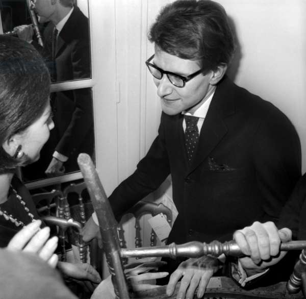 Yves Saint Laurent After Presentation of his 1St Collection As Grand Couturier (Yves Saint Laurent Firm in Paris) January 29, 1962 (b/w photo)