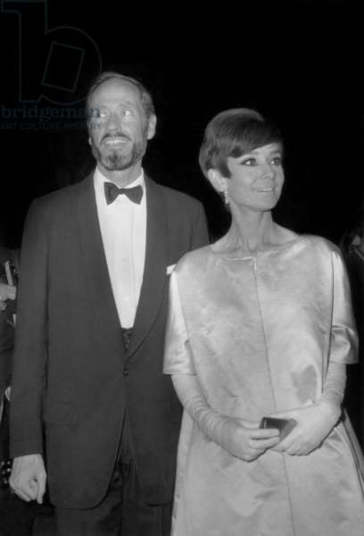 Audrey Hepburn and Husband Mel Ferrer October 28, 1965 during The Nuit Du Cinema, Paris (b/w photo)
